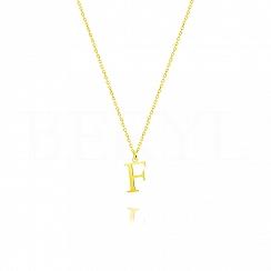 Naszyjnik z literką F srebrny pozłacany 1 cm