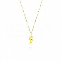 Naszyjnik złoty z literką F 1cm, łańcuszek ankier regulowany