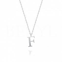 Naszyjnik z literką F srebrny 2 cm