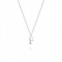 Naszyjnik z literką F srebrny 1 cm