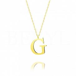 Naszyjnik z literką G srebrny pozłacany 3 cm