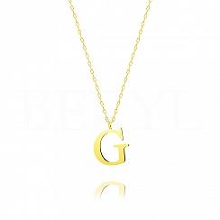 Naszyjnik z literką G srebrny pozłacany 2 cm