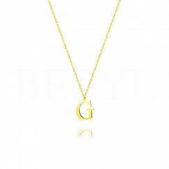 Naszyjnik z literką G srebrny pozłacany 1 cm