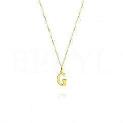 Naszyjnik złoty z literką G 1cm, łańcuszek ankier regulowany