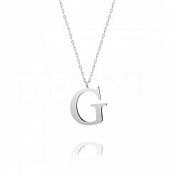 Naszyjnik z literką G srebrny 3 cm