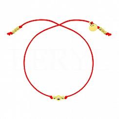 Bransoletka na sznurku czerwonym srebrna pozłacana z kuleczkami