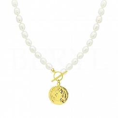 Naszyjnik z Naturalną Białą Perłą i Monetą Rzymską z zapięciem Toggle Srebro 925 Pozłacane 24 karatowym złotem