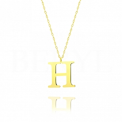 Naszyjnik z literką H srebrny pozłacany 3 cm
