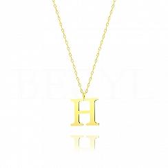 Naszyjnik z literką H srebrny pozłacany 2 cm