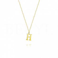 Naszyjnik złoty z literką H 1cm, łańcuszek ankier regulowany