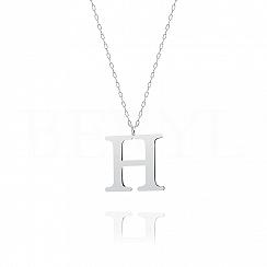 Naszyjnik z literką H srebrny 3 cm