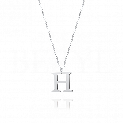 Naszyjnik z literką H srebrny 2 cm