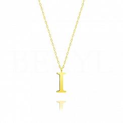 Naszyjnik z literką I srebrny pozłacany 2 cm
