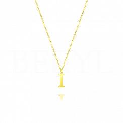 Naszyjnik z literką I srebrny pozłacany 1 cm