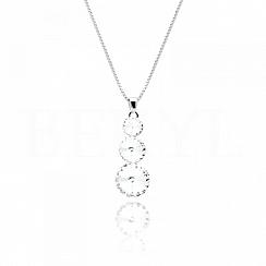 Naszyjnik srebrny trzy białe kryształy