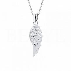 Zawieszka srebrna małe skrzydło z cyrkonią