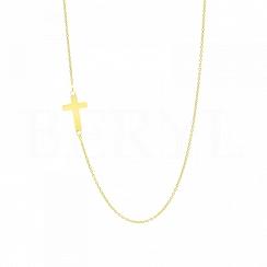 Naszyjnik z krzyżem bocznym srebrna pozłacana celebrytka
