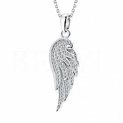 Zawieszka srebrna skrzydło z białą cyrkonią