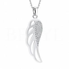 Zawieszka srebrna skrzydło ażurowe z cyrkonią