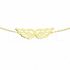 Bransoletka celebrytka srebrna pozłacana ze skrzydłami