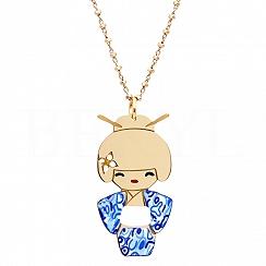 Naszyjnik srebrny pozłacany dziewczynka w niebieskim kimonie