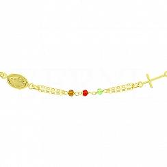 Bransoletka srebrna pozłacana kolorowe koraliki z krzyżykiem i medalikiem
