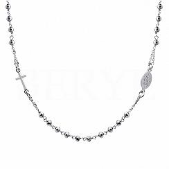 Naszyjnik różaniec srebrny z hematytami