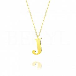 Naszyjnik z literką J srebrny pozłacany 3 cm