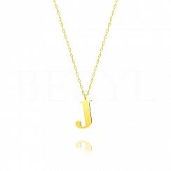 Naszyjnik z literką J srebrny pozłacany 2 cm