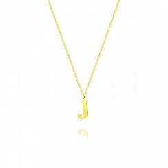 Naszyjnik z literką J srebrny pozłacany 1 cm