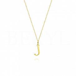 Naszyjnik złoty z literką J 1cm, łańcuszek ankier regulowany