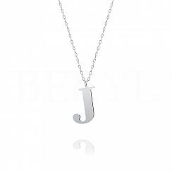 Naszyjnik z literką J srebrny 3 cm