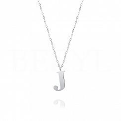 Naszyjnik z literką J srebrny 2 cm