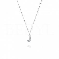 Naszyjnik z literką J srebrny 1 cm