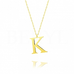 Naszyjnik z literką K srebrny pozłacany 3 cm