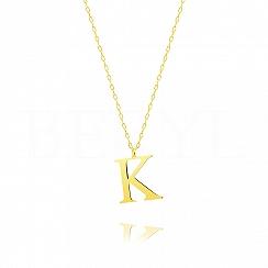 Naszyjnik z literką K srebrny pozłacany 2 cm