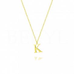Naszyjnik z literką K srebrny pozłacany 1 cm