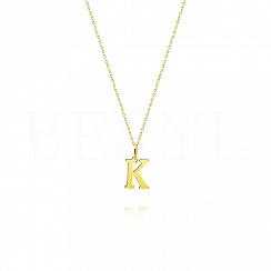Naszyjnik złoty z literką K 1cm, łańcuszek ankier regulowany