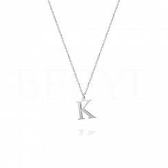 Naszyjnik z literką K srebrny 1 cm