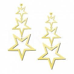 Kolczyki srebrne pozłacane wiszące gwiazdy