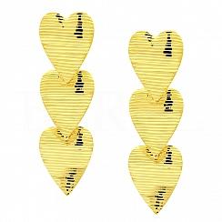 Kolczyki srebrne pozłacane wiszące trzy serca