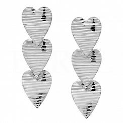 Kolczyki srebrne wiszące trzy serca