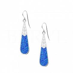 Kolczyki srebrne z niebieskim opalem długie wiszące
