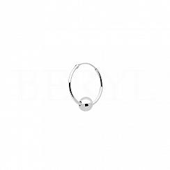 Kolczyk kółeczko z kuleczką srebrny 12 mm