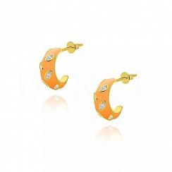 Kolczyki koła srebrne pozłacane pomarańczowe