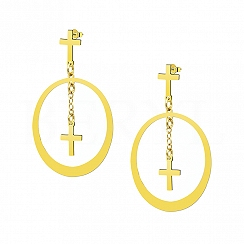 Kolczyki wiszące koła z krzyżami srebro pozłacane 24 karatowym złotem