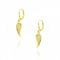 Kolczyki srebrne pozłacane wiszące ze skrzydłem i cyrkoniami