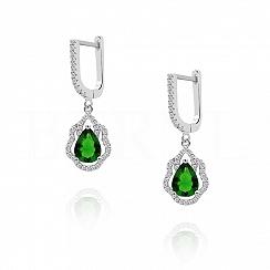 Kolczyki srebrne z zieloną cyrkonią -nowe