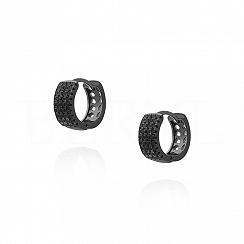 Kolczyki srebrne kółeczka z czarnymi cyrkoniami