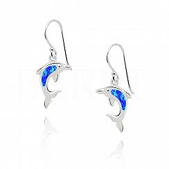 Kolczyki z opalem niebieskim srebrne wiszące delfiny